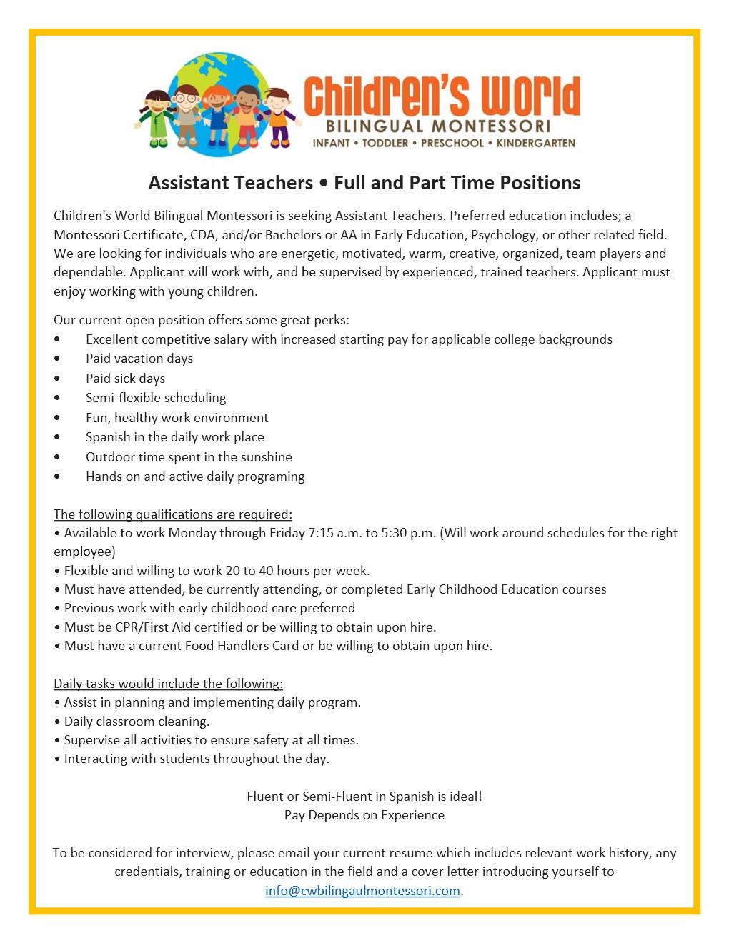 Employment Childrens World Bilingual Montessori
